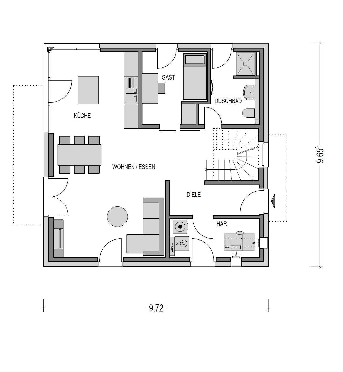 Grundriss Erdgeschoss Gästezimmer