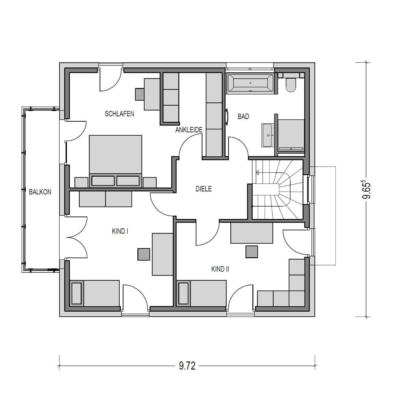Grundriss Obergeschoss 3 Zimmer Schlafzimmer mit Ankleide Bad