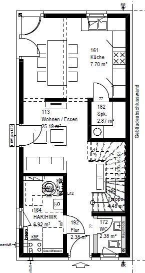 Ansicht des Hauses Modernes Doppelhaus mit drei Etagen