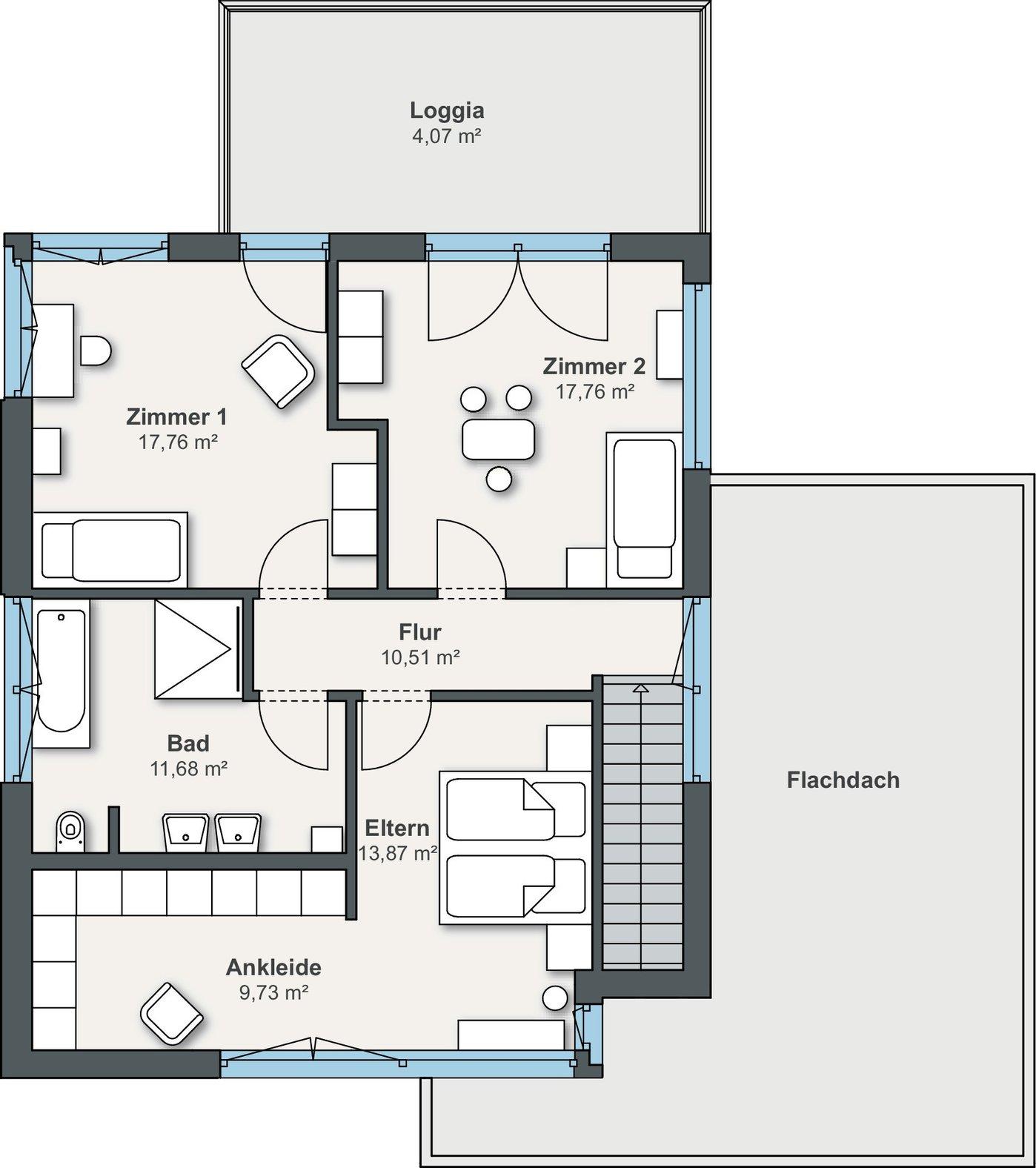 Grundriss Einfamilienhaus Obergeschoss