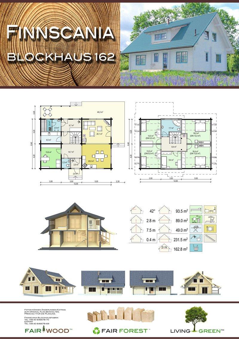 Ansicht des Hauses Blockhaus 162