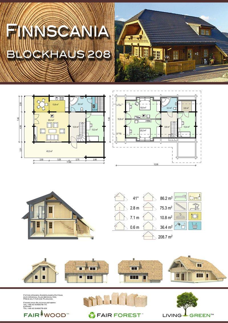 Ansicht des Hauses Blockhaus 208