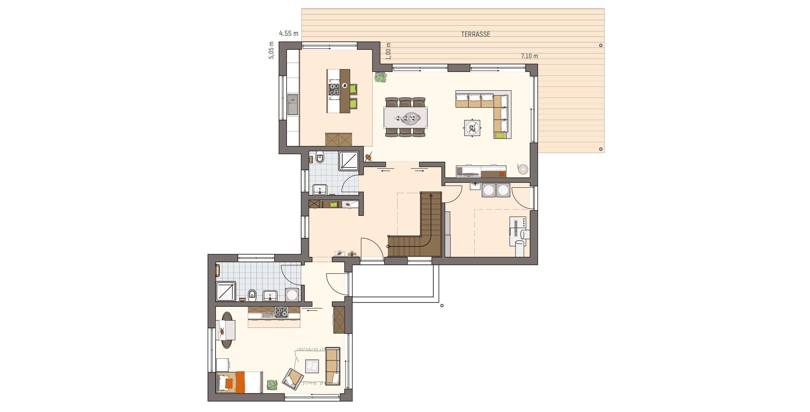 Erdgeschoss mit Einliegerwohnung
