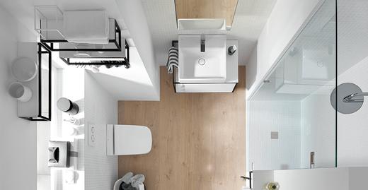 Die neue burgbad-Kollektion Junit: intelligente Badlösung für eine offene, modulare und aufgelockerte Architektur für kleine und mittlere Bäder im urbanen Raum.