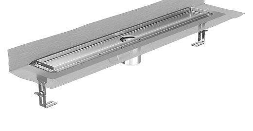 Die neue Edelstahl-Duschrinne ACO ShowerDrain E+, hier mit Wandaufkantung und Anschluss DN 50.