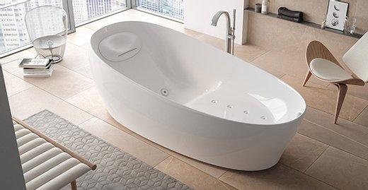 In der Floating Badewanne nimmt der Badende dank der inneren Wannenform eine spezielle Körperhaltung ein – besonders entspannend für Körper und Geist.