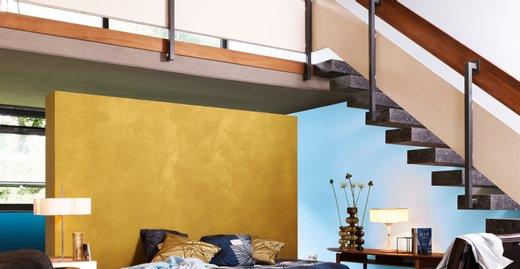 """Für kreative Akzente: Alpina """"Gold-Effekt"""" wirkt edel, in Kombination mit dem hellblauen Farbton """"Luftschloss"""" aus der Linie Alpina Farbrezepte sehr modern und gar nicht opulent."""
