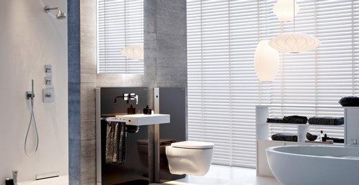 Funktionell und ästhetisch: Die Sanitärmodule Geberit Monolith verbergen unter ihrer eleganten Glas-Aluminium-Konstruktion modernste Technik.