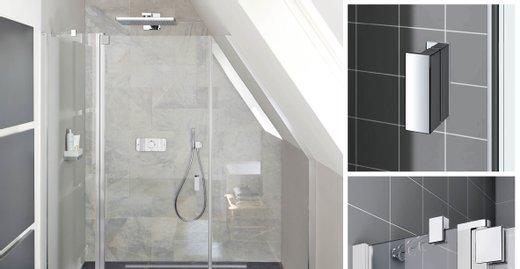 RAYA im neuen Glanz: Ab dem 01.04.2018 überzeugt die Duschkabinenserie RAYA in der Ausführung mit silber matten Profilen mit Griffen, Gelenken und Verbindungen in edlem Chrom.