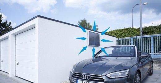 Mit dem  SolarVenti® lassen sich Temperatur und Luftfeuchtigkeit in der Garage vollautomatisch regeln