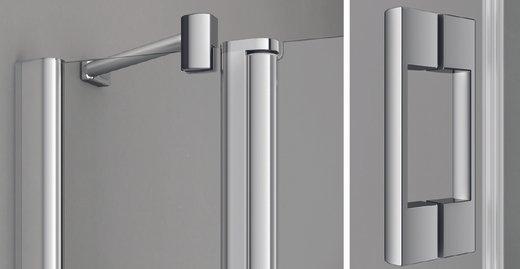 Charmantes, sanft gerundetes Design, hochwertige verchromte Applikationen und eine durchgängige Glas- und Profilhöhe.