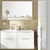 Mineralguss-Doppelwaschtisch: 122 cm, Waschtischunterschrank mit 2 Schubladen und 2 Auszügen: 120 cm, Leuchtspiegel mit Ablage: 120 cm nexus product design