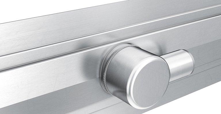 Die neue, höhenverstellbare Edelstahl-Duschrinne ACO ShowerDrain E+ mit horizontalem Ablaufstutzen DN 40.