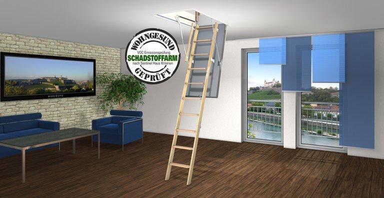 Achten Sie auch beim Zugang zum Speicher auf Ihre Gesundheit: Schadstoffarme Bodentreppe.
