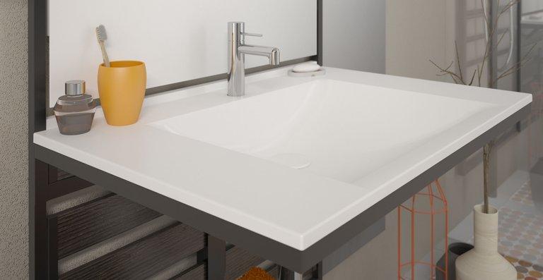 Die frei hängende Waschtischvariante eignet sich bei entsprechender Positionierung auch als barrierefrei unterfahrbare Lösung nach DIN 18040.