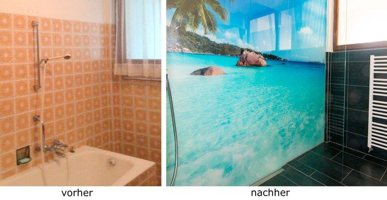 Begehbare Dusche mit ESG 8 mm Weißglas und Motiv bedruckt, 3-Teilg 3113 x 2465 mm