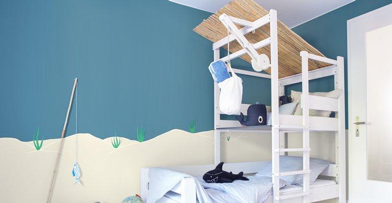 Die kühlen Blautöne der Kollektion Alpina Farbenfreunde erinnern an die Farben des Himmels und des Meeres und sorgen für Erholung und Entspannung.
