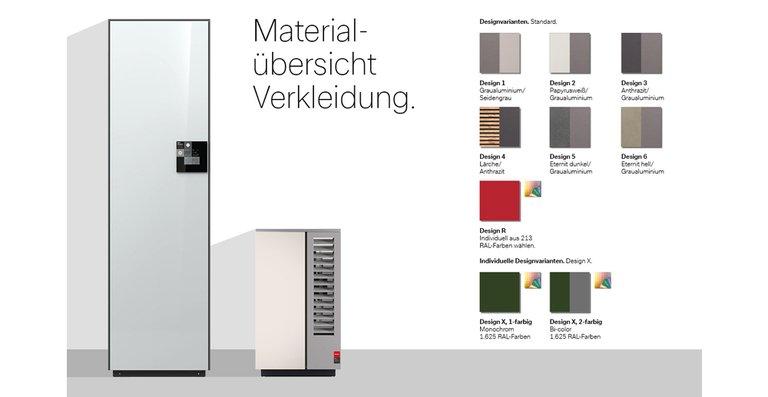 System M überzeugt mit kompakten Maßen und lässt sich mit individuellem Design perfekt an Baustil und Hausfassade anpassen. Ab Werk erhältlich in verschiedenen Grautönen (Design 1, 2 & 3), mit Lärchen-Holzverkleidung (Design 4) oder mit heller und dunkler Faserzement-Oberfläche (Design 5 & 6). Individuell wird es mit Design X bzw. R – einfach eine von 1.625 bzw. 213 RAL-Farben wählen für ein ganz persönliches Design (einfarbig/ monochrom oder bei Design X zweifarbig/bi-color).