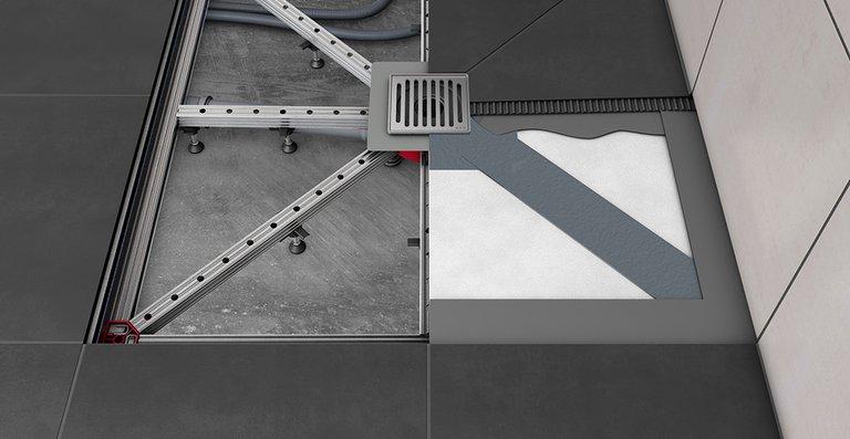 Die minimale Bauhöhe am Ablaufkörper beträgt bei Punktlösung ACO ShowerFloor nur 80 mm, bei der Linienentwässerung 95 mm – damit ist das System auch bei Renovierungen eine attraktive Alternative.