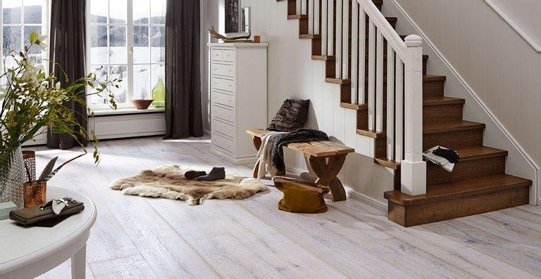 MEISTER Lindura-Holzboden HD 300 mattlackiert | naturgeölt Eiche rustikal white washed 8425 | gebürstet | naturgeölt