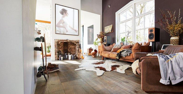 MEISTER Lindura-Holzboden HD 300 mattlackiert | naturgeölt Eiche rustikal olivgrau 8511 | Vintage-Struktur, gebürstet | naturgeölt