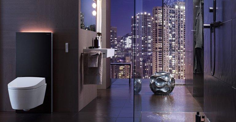 Die Produkte von Geberit eignen sich sowohl für den Neubau als auch für die Modernisierung. Monolith Plus Sanitärmodul mit Dusch-WC AquaClean Sela