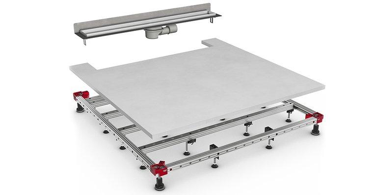 Die Höhenverstellung von ACO ShowerFloor erfolgt nur über die Eckverbinde, die anderen Standfüße verfügen über eine Schnelleinstellung.