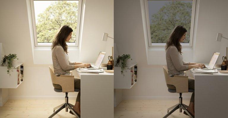 Mit elektrochrom verglasten Dachfenstern von Velux lässt sich Sonnen- und Hitzeschutz optimal auf Tageszeit und Wetter abstimmen.