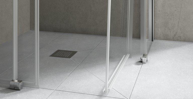 Die bodenebenen Türsegmente lassen sich zur Reinigung nach innen schwenken.