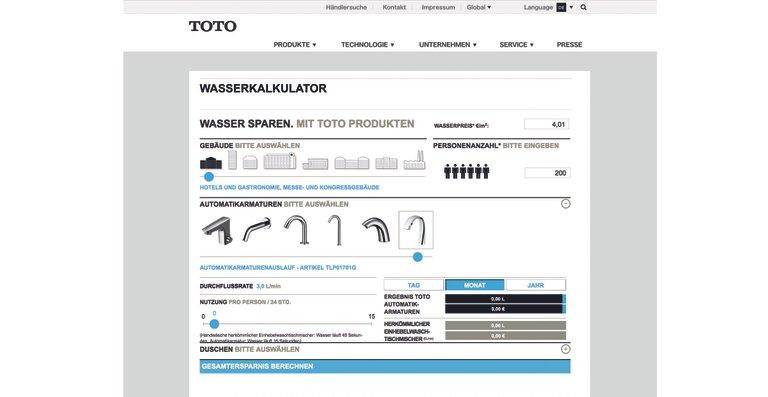 Auf der TOTO Homepage lässt sich berechnen, wie hoch bei Einsatz der neuen Automatikarmatur die Wasserersparnis ist.