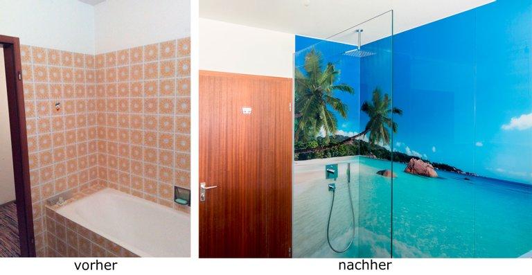 Renovierung eines Bades, begehbare Dusche mit ESG 8 mm Weißglas und Motiv bedruckt, die Trennscheibe ist aus 10 mm ESG Weißglas unbedruckt