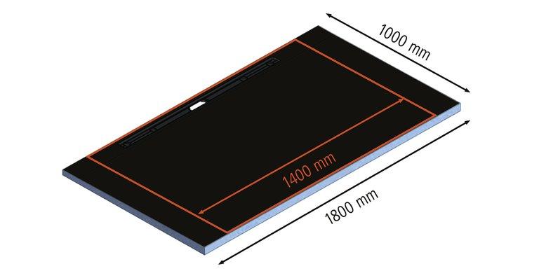 Die beflieste Rinnenabdeckung  hat eine Breite von 1100 mm.