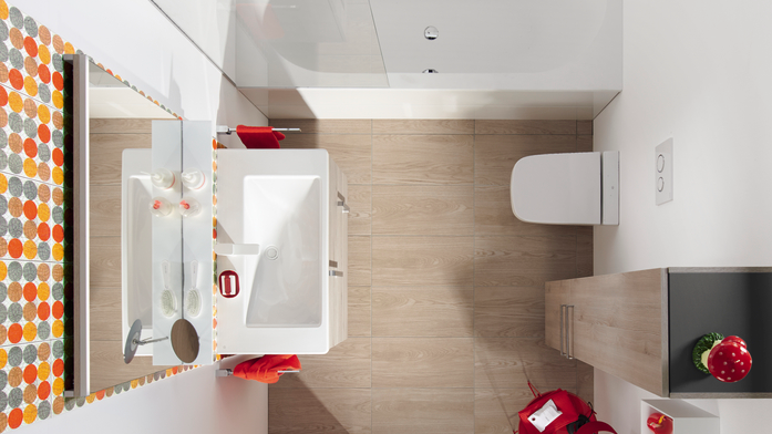 Ausgangspunkt des Einrichtungsprogramms Eqio von burgbad ist ein kompaktes Waschtischmodul in drei Materialversionen, drei Grundmaßen, fünf Farben und vielfältigen Kombinationsmöglichkeiten.