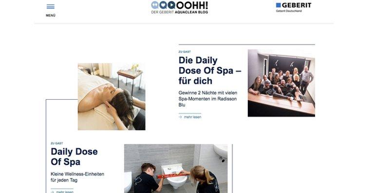 """Dusch-WC Hersteller und Sanitärspezialist Geberit launcht den neuen """"Oohh! Der Geberit AquaClean Blog"""" – den ersten Blog rund um das Thema Dusch-WC."""