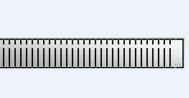 Der neue Design-Rost ACO Piano für die bodenebenen Edelstahl-Duschrinnen ACO Showerdrain E+, E, M und ACO ShowerFloor für Linienentwässerung.