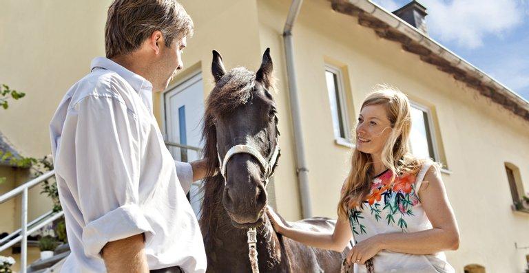 Nicht nur die Familie Ahrens fühlt sich auf ihrem Hof pudelwohl – auch ihre Pferde haben es hier besonders gut.