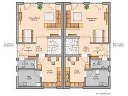 Grundriss Architektenhau View von Kern-Haus Erdgeschoss