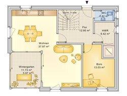 Planungsbeispiel Einfamilienhaus 139H15 - Grundriss EG