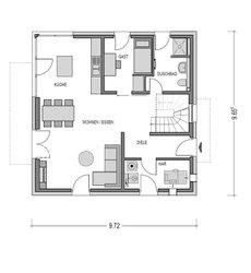 Im Erdgeschoss der Stadtvilla ist alles offen gestaltet, so dass man von der Diele und den Treppenhaus einen freien Zugang zu Wohnbereich, Essplatz und Küche hat.
