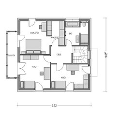 Die Räume im Obergeschoss sind alle etwa gleich groß. Ein Kinderzimmer und das Schalfzimmer der Eltern, das zusätzlich über eine Ankleide verfügt, haben einen direkten Zugang zum Balkon