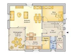 Planungsbeispiel Einfamilienhaus 125H15 - Grundriss Erdgeschoss
