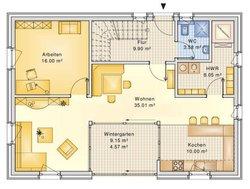 Planungsbeispiel Einfamilienhaus 158H15 - Grundriss EG