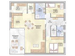 Planungsbeispiel Bungalow Bogenhaus 108SB10 - Grundriss
