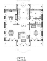 Der Grundriss der repärsentativen Villa Falkensee zeigt die Besonderheiten dieses Massivhauses: es bietet seinen Bewohnern jeglichen Komfort und jede Menge Platz. Über eine zweiflügelige Treppe gelnagt man ins Obergeschoss.