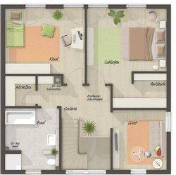 Grundriss Obergeschoss Stadtvilla 145