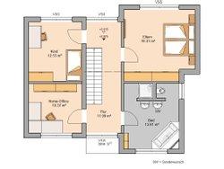 Grundriss Bauhaus Modus von Kern-Haus Obergeschoss