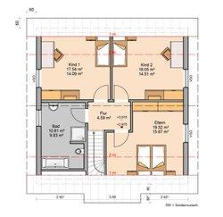 Grundriss Kern-Haus Familienhaus Luna Dachgeschoss