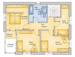 Planungsbeispiel Einfamilienhaus 152H20 - Grundriss OG