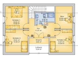 Planungsbeispiel Einfamilienhaus 158H15 - Grundriss OG