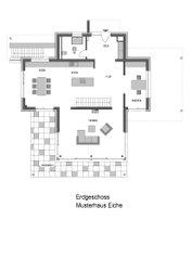 Anhand des Grundrisses wird deutlich, dass das Erdgeschoss des Bauhauses mordern und offen gestaltet ist.
